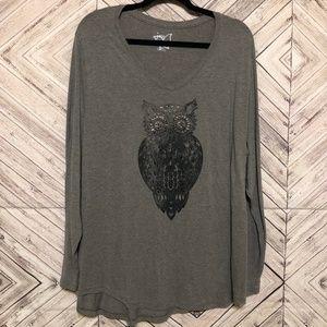 JMS 3X Owl graphic long sleeve knit shirt
